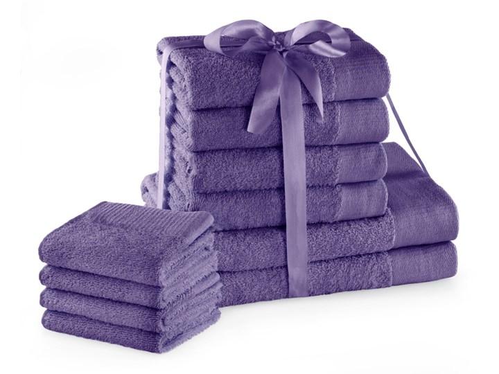 AmeliaHome - Ręcznik kąpielowy Bawełniany Gładki Fioletowy AMARI - 2*70x140+4*50x100+4*30X50