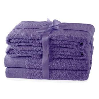 AmeliaHome - Ręcznik kąpielowy Bawełniany Gładki Fioletowy AMARI - 2*70x140+ 4*50x100