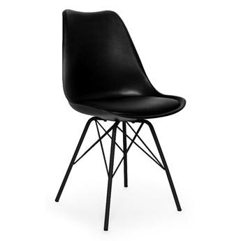 Zestaw 2 czarnych krzeseł z konstrukcją z metalu loomi.design Eco
