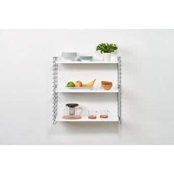 3-poziomowy regał z białymi elementami Metaltex Libro, szer. 70 cm