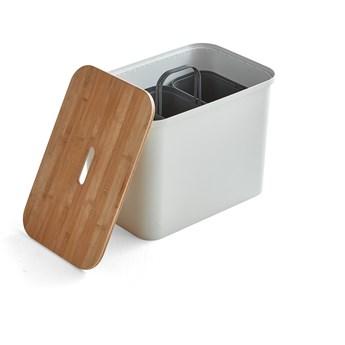 Pojemnik do segregacji SmartStore™, z siedziskiem, 76 L, biały
