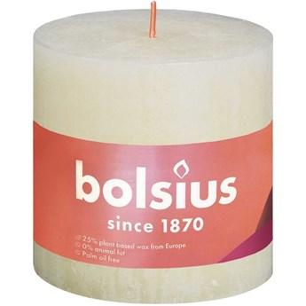 Bolsius świeca bryłowa pieńkowa rustykalna słupek Rustic Shine 100/100 mm 10 cm - Delikatny perłowy
