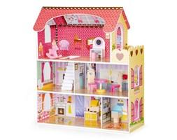Drewniany domek dla lalek z oświetleniem LED + zestaw mebelków Ecotoys