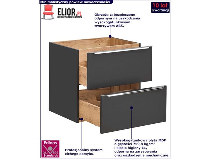 Podwieszana szafka łazienkowa pod umywalkę - Malta 3X Czarny mat 60 cm Wysokość 57 cm Wiszące Szafki Kolor Szary