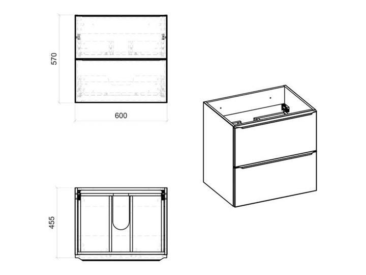 Podwieszana szafka łazienkowa pod umywalkę - Malta 3X Czarny mat 60 cm Wiszące Szafki Wysokość 57 cm Kolor Szary