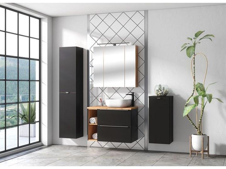 Półsłupek łazienkowy z koszem na pranie - Malta 4X Czarny mat Kolor Szary Wiszące Kategoria Szafki stojące