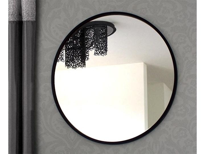 LUSTRO SCANDI W CZARNEJ RAMIE Ścienne Okrągłe Lustro z ramą Pomieszczenie Łazienka Pomieszczenie Salon