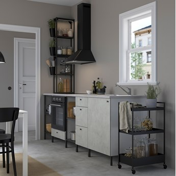 IKEA ENHET Kuchnia, antracyt/imitacja betonu, 243x63.5x241 cm