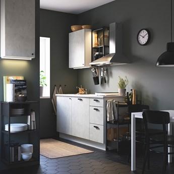 IKEA ENHET Kuchnia, antracyt/imitacja betonu, 163x63.5x222 cm
