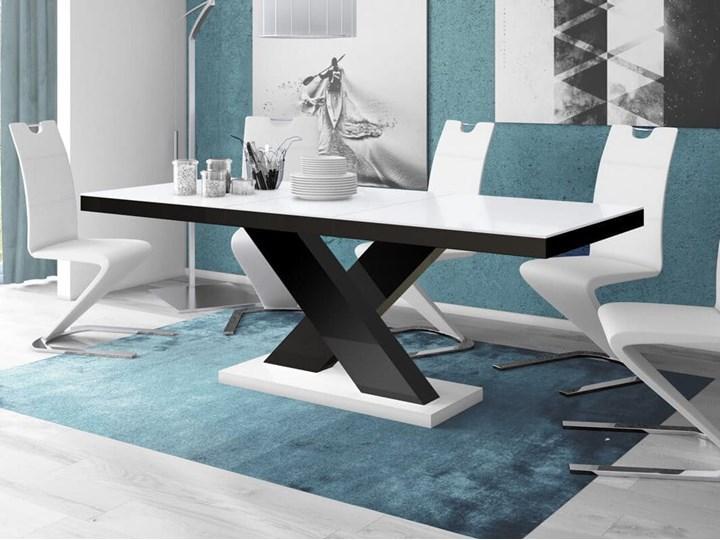 Stół rozkładany XENON 160-208 cm Biało-czarny połysk - Meb24.pl