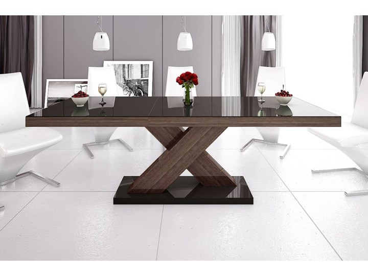 Stół rozkładany XENON 160-208 cm Brąz-dąb faro połysk - Meb24.pl