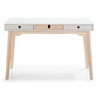 Białe biurko z nogami z drewna sosnowego Marckeric Kiara