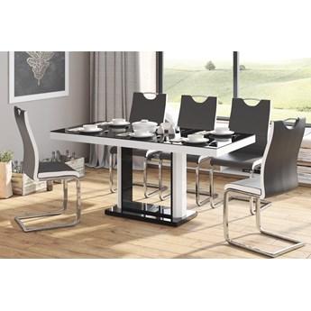 Stół rozkładany QUADRO 120-168 Czarno-biały mat - Meb24.pl