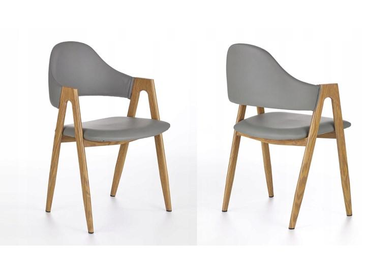 Krzesło K247 Popiel Halmar Głębokość 57 cm Wysokość 80 cm Tkanina Skóra ekologiczna Metal Szerokość 48 cm Stal Szerokość 53 cm Z podłokietnikiem Drewno Płyta MDF Skóra Styl Klasyczny