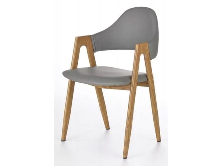 Krzesło K247 Popiel Halmar Skóra ekologiczna Szerokość 48 cm Drewno Stal Płyta MDF Tkanina Z podłokietnikiem Styl Nowoczesny Głębokość 57 cm Szerokość 53 cm Metal Wysokość 80 cm Skóra Pomieszczenie Jadalnia