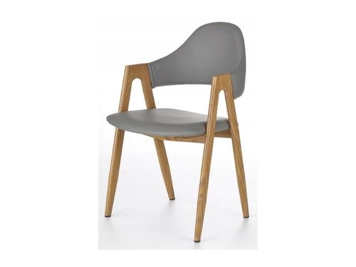 Krzesło K247 Popiel Halmar Metal Skóra ekologiczna Stal Z podłokietnikiem Skóra Płyta MDF Drewno Głębokość 57 cm Tkanina Szerokość 53 cm Wysokość 80 cm Szerokość 48 cm Pomieszczenie Jadalnia