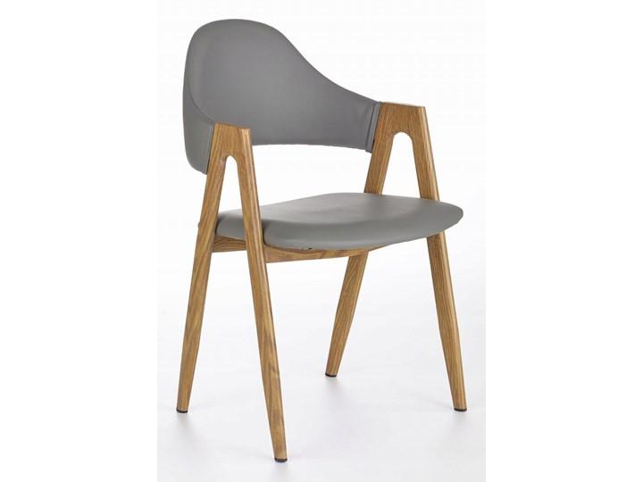 Krzesło K247 Popiel Halmar Tkanina Szerokość 48 cm Płyta MDF Z podłokietnikiem Szerokość 53 cm Skóra Drewno Metal Skóra ekologiczna Głębokość 57 cm Wysokość 80 cm Stal Pomieszczenie Jadalnia