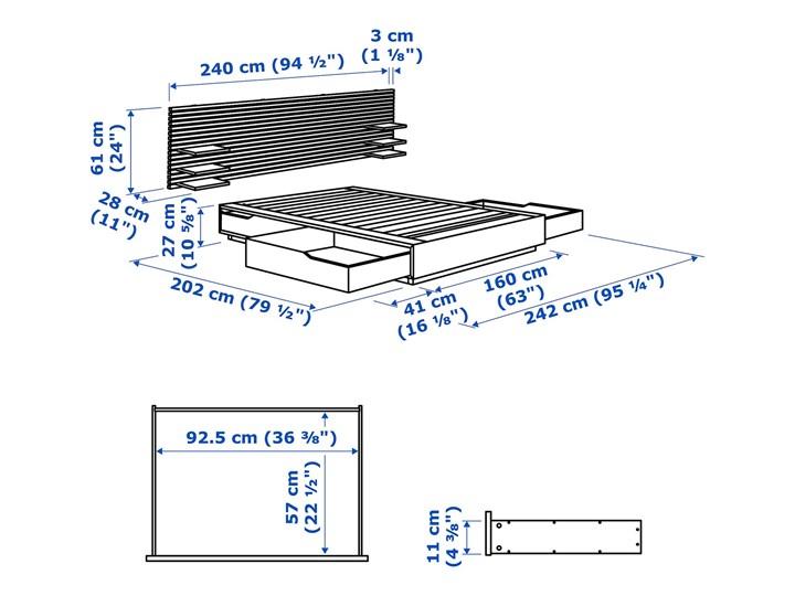 MANDAL Rama łóżka, zagłówek Łóżko drewniane Kolor Biały Kolor Beżowy