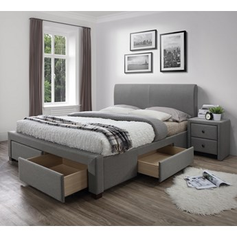Tapicerowane łóżko z szufladami i zagłówkiem Modena 140