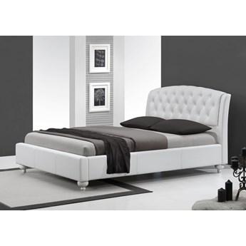 Białe łóżko z pikowanym zagłówkiem Sofia