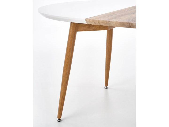 Rozkładany stół do salonu Edward dąb miodowy Płyta MDF Długość 200 cm  Długość 100 cm Długość 120 cm  Szerokość 100 cm Stal Drewno Rozkładanie