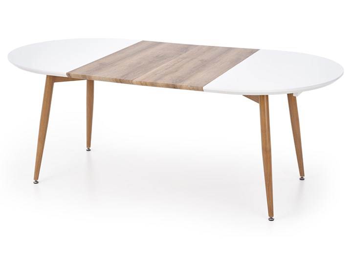 Rozkładany stół do salonu Edward dąb miodowy Długość 100 cm Stal Szerokość 100 cm Płyta MDF Drewno Długość 200 cm  Kolor Beżowy Długość 120 cm  Rozkładanie Rozkładane