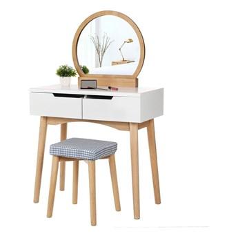 Drewniana toaletka z lustrem, stołkiem i 2 szufladami Songmics