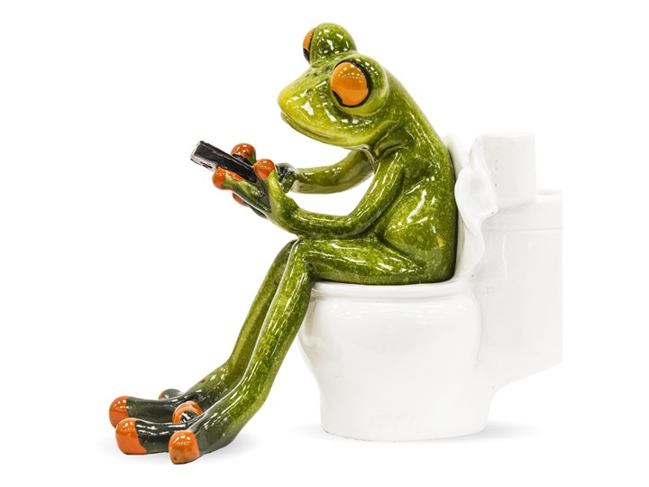 Figurka żabki na toalecie WC