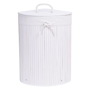 Kosz narożny na pranie bambusowy 60L biały