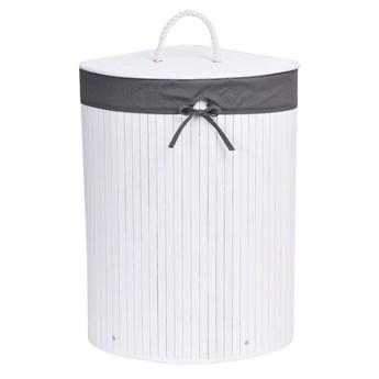Kosz narożny na pranie bambusowy 60L biało-szary