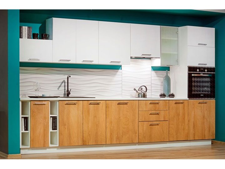 Szafka pod zlewozmywak dąb miodowy - Limo 26X Drewno Kolor Biały Kategoria Szafki kuchenne
