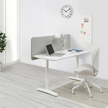IKEA BEKANT Biurko z ekranem, biały/szary, 140x60 48 cm