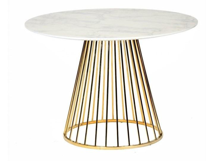Stół GLAM MARBLE - MDF, złota podstawa Marmur Metal Długość 100 cm Kształt blatu Okrągły Wysokość 75 cm Płyta MDF Pomieszczenie Stoły do jadalni