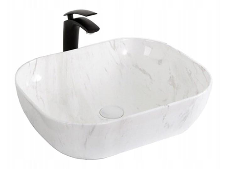 VELDMAN UMYWALKA NABLATOWA TOKYO BIAŁO-SZARY MARMUR Kolor Biały Prostokątne Szerokość 50 cm Ceramika Meblowe Nablatowe Kategoria Umywalki