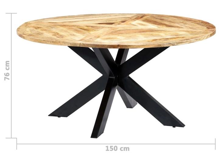 Okrągły stół z drewna mango – Gebel 3X Drewno Styl Industrialny Długość 150 cm  Wysokość 76 cm Kolor Beżowy