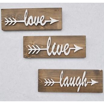 Zestaw 3 drewnianych dekoracji ściennych White Love