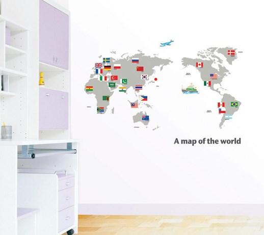 naklejki mapa świata z flagami dp08168 naklejki