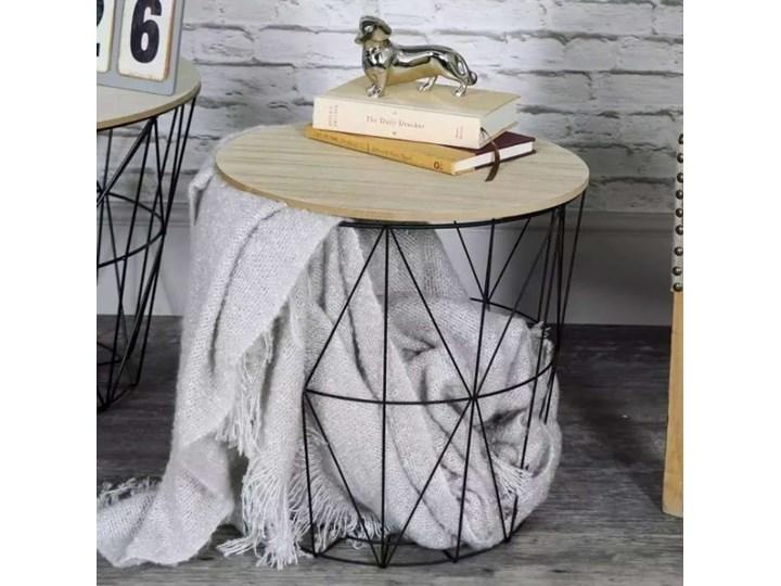 Zestaw trzech stolików drucianych APRIL czarny Wysokość 30 cm Wysokość 35 cm Drewno Metal Zestaw stolików Wysokość 39 cm Płyta MDF Stal Kolor Beżowy