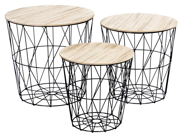 Zestaw trzech stolików drucianych APRIL czarny Płyta MDF Zestaw stolików Wysokość 30 cm Wysokość 35 cm Stal Metal Wysokość 39 cm Drewno Kategoria Stoliki i ławy