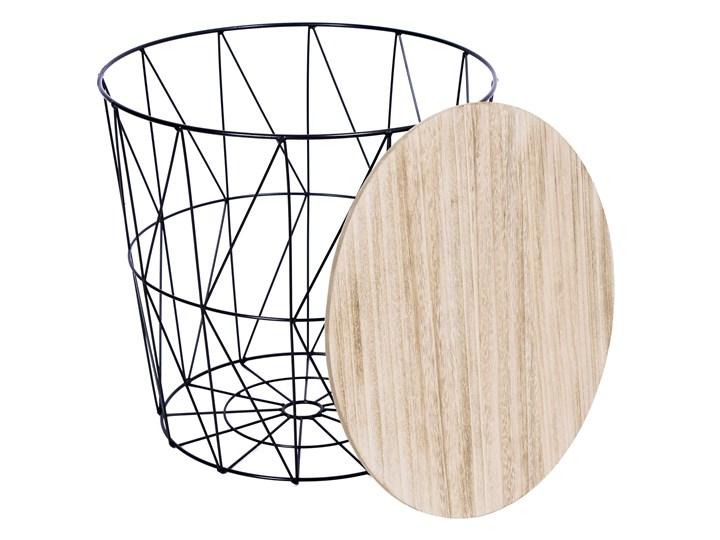 Zestaw trzech stolików drucianych APRIL czarny Płyta MDF Zestaw stolików Wysokość 35 cm Drewno Wysokość 39 cm Metal Wysokość 30 cm Stal Styl Industrialny