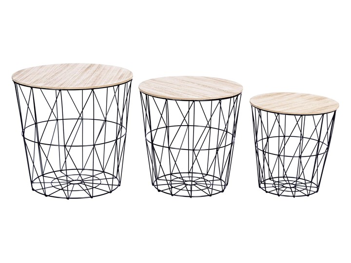 Zestaw trzech stolików drucianych APRIL czarny Metal Wysokość 39 cm Zestaw stolików Wysokość 30 cm Płyta MDF Stal Drewno Wysokość 35 cm Styl Industrialny