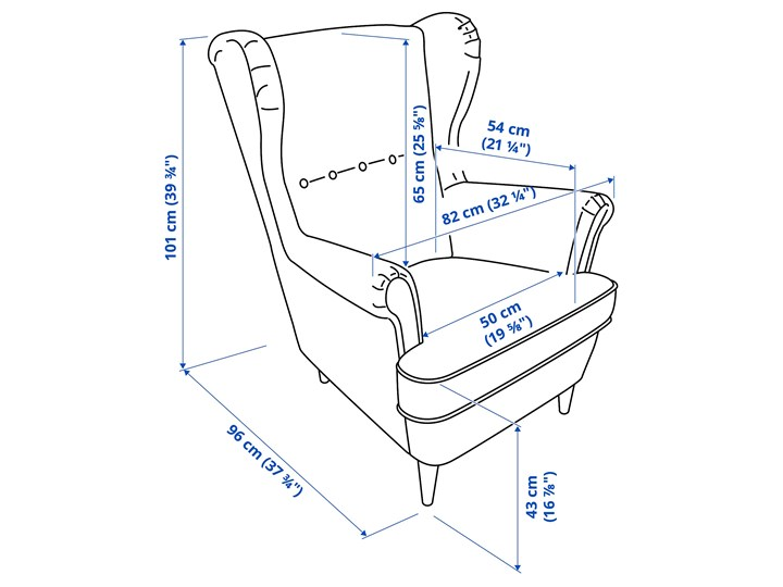 STRANDMON Fotel uszak Głębokość 54 cm Tworzywo sztuczne Szerokość 82 cm Tkanina Wysokość 101 cm Głębokość 96 cm Wysokość 45 cm Styl Klasyczny Pomieszczenie Salon