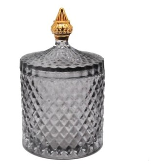 POJEMNIK BOMBONIERKA SZKLANA DYMIONA Z POKRYWKĄ PRIVE GOLD 18x10,5x10,5 cm