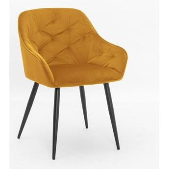 Krzesło VIENA żółty aksamit / noga czarna