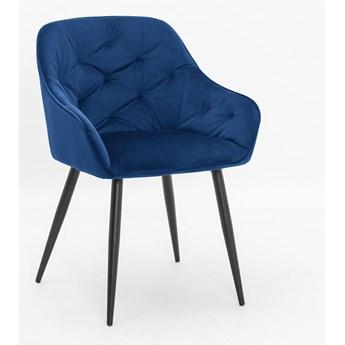 Krzesło VIENA granatowy aksamit / noga czarna