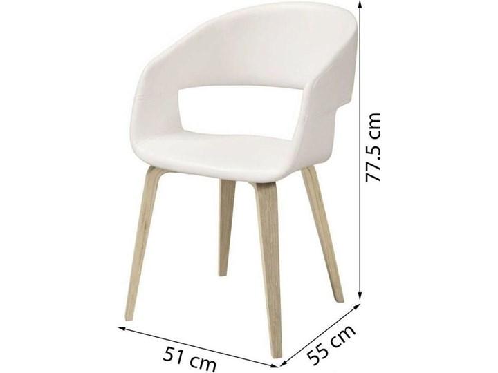 Krzesło Nova 51x78 cm białe ekoskóra nogi olejowane Wysokość 77 cm Głębokość 55 cm Szerokość 51,5 cm Z podłokietnikiem Tapicerowane Skóra ekologiczna Drewno Tkanina Styl Skandynawski