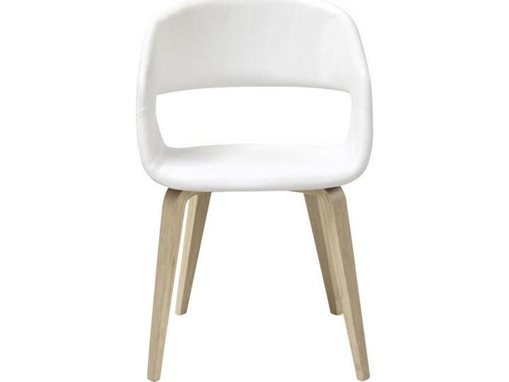 Krzesło Nova 51x78 cm białe ekoskóra nogi olejowane Głębokość 55 cm Tapicerowane Drewno Szerokość 51,5 cm Tkanina Wysokość 77 cm Skóra ekologiczna Z podłokietnikiem Styl Skandynawski