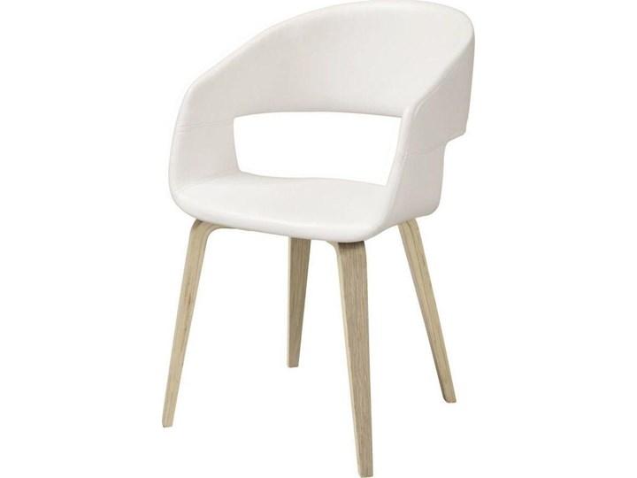 Krzesło Nova 51x78 cm białe ekoskóra nogi olejowane Szerokość 51,5 cm Wysokość 77 cm Tapicerowane Głębokość 55 cm Skóra ekologiczna Z podłokietnikiem Tkanina Drewno Styl Nowoczesny