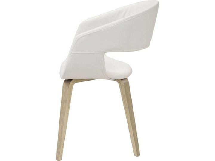 Krzesło Nova 51x78 cm białe ekoskóra nogi olejowane Drewno Tkanina Tapicerowane Wysokość 77 cm Styl Skandynawski Z podłokietnikiem Skóra ekologiczna Głębokość 55 cm Szerokość 51,5 cm Pomieszczenie Jadalnia
