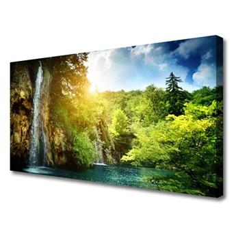 Obraz na Płótnie Wodospad Drzewa Krajobraz